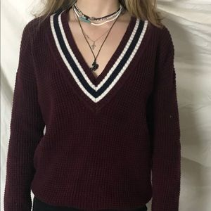 Burgundy Vneck Knitted H&M Sweater